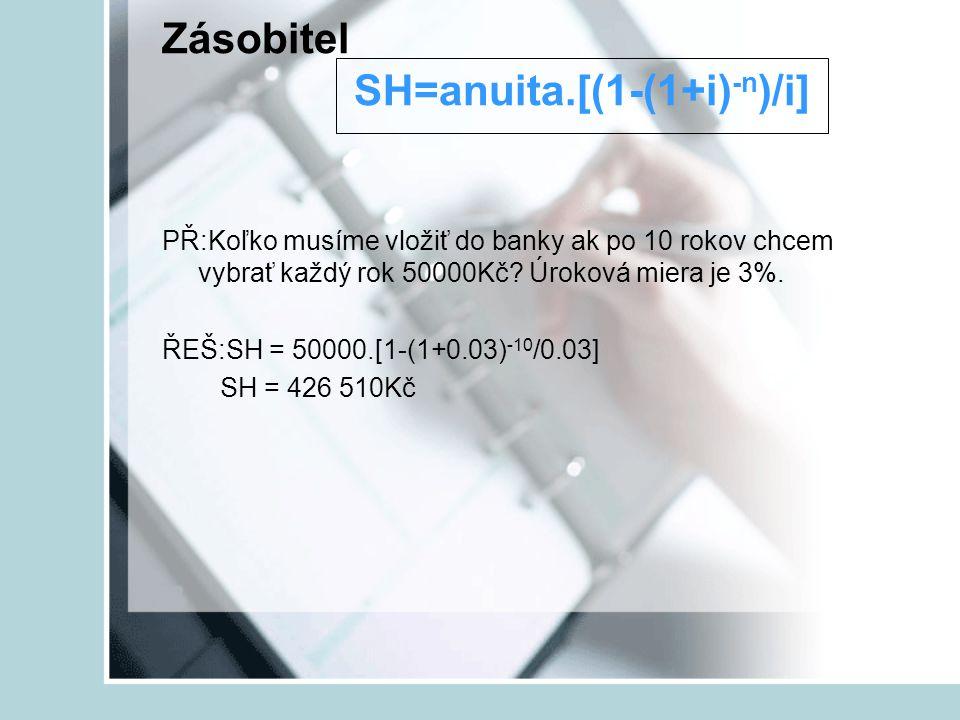 Zásobitel SH=anuita.[(1-(1+i)-n)/i]